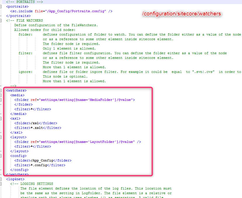 Sitecore Config File Watchers
